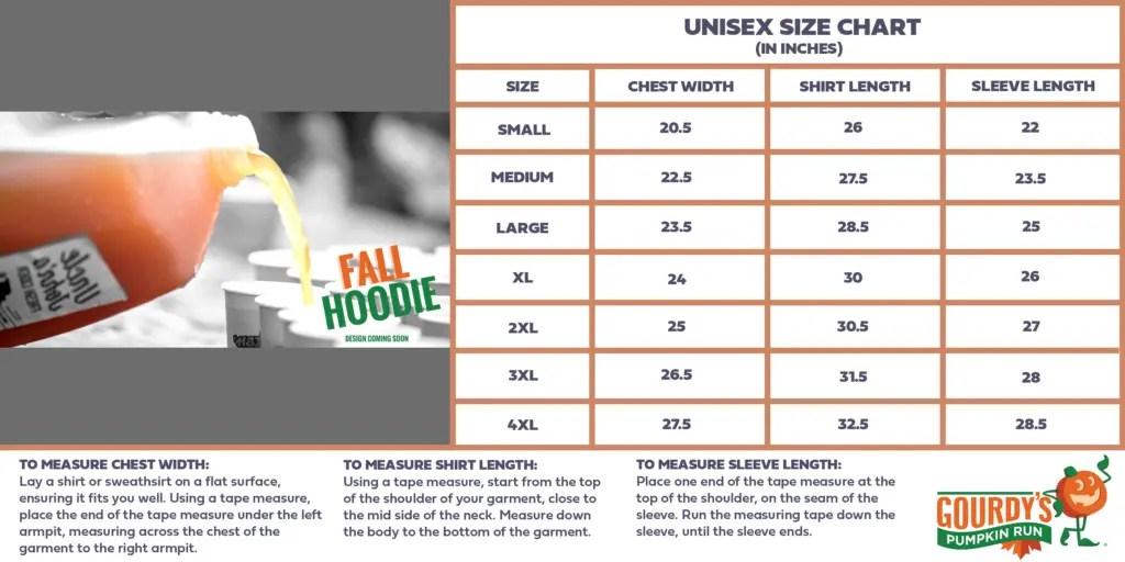 Fall Hoodie Size Chart