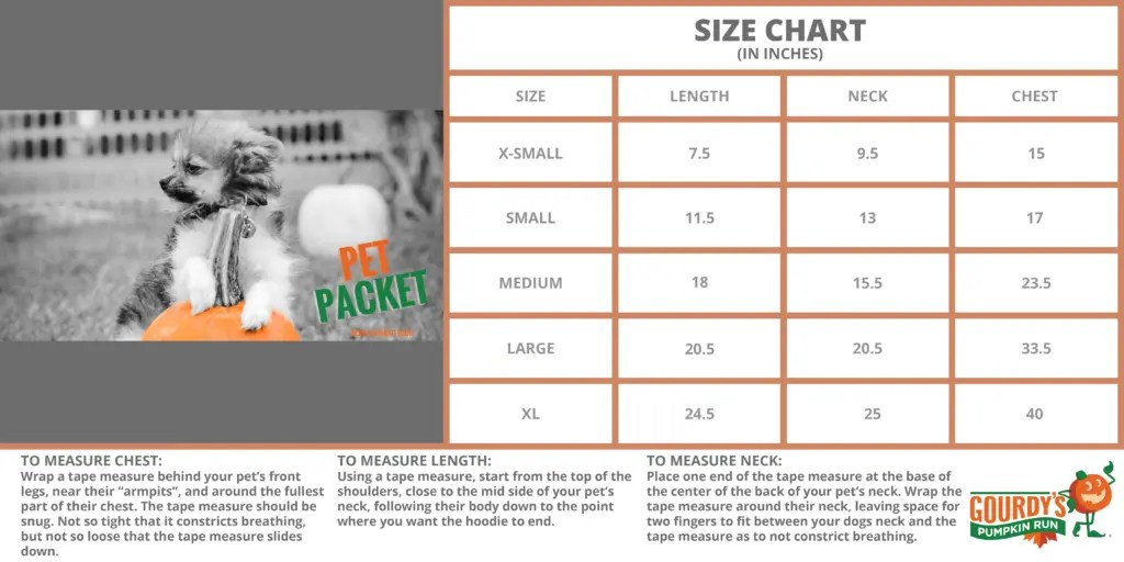Pet Packet Hoodie and Medal Size Chart