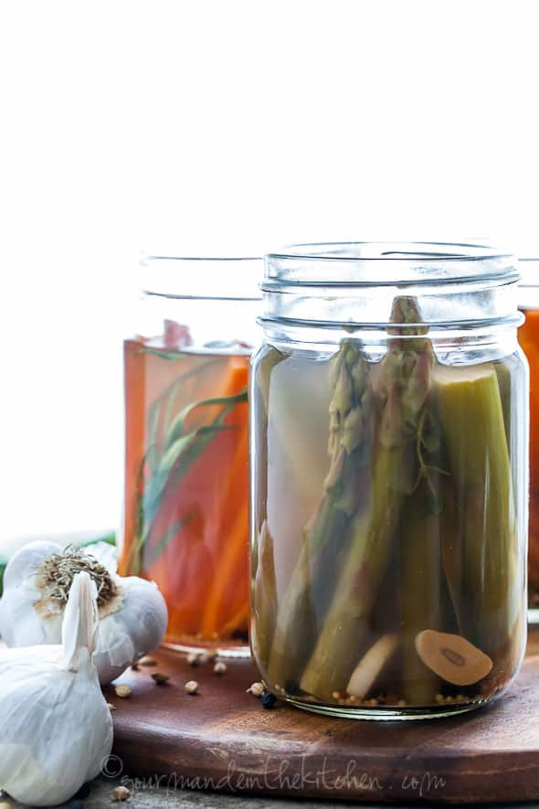 Quick Pickled Asparagus and Carrots with Tarragon from GourmandeintheKitchen.com  Quick Pickled Carrots and Asparagus with Tarragon