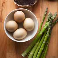 Eggs Benedict with Asparagus on Portobello Mushrooms with Goat Cheese Sauce