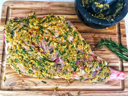 Seasoned leg of lamb with herb and spice crust