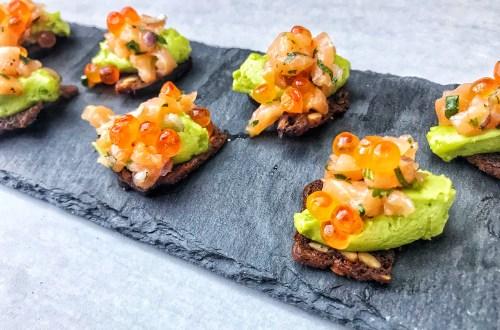 Crisp salmon avocado appetizer bites