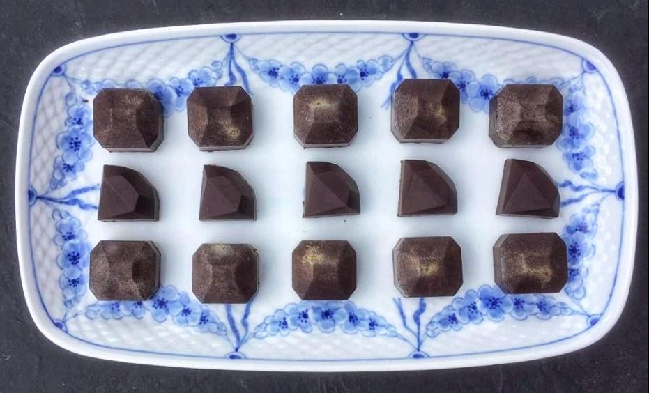Cognac ganache chcolate gems served on a Royal Copenhagen platter