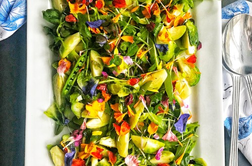 Fresh flower salad. Salad with edible flowers, Brussels sprout, snap peas and micro greens