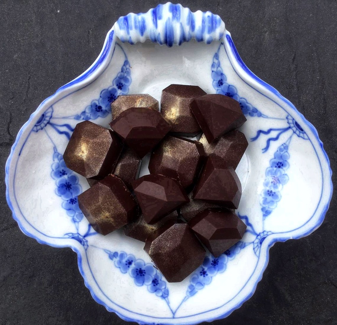 Cognac ganache chocolates - homemade chocolates with cognac ganache filling made in chocolate molds.