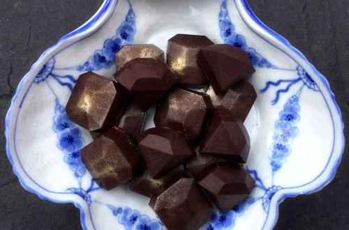 Cognac ganache chocolates - homemade chocolates with cognac ganache filling made in chocolate molds.