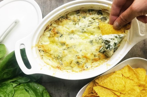Spinach artichoke and cheese dip. Served with tortilla chips