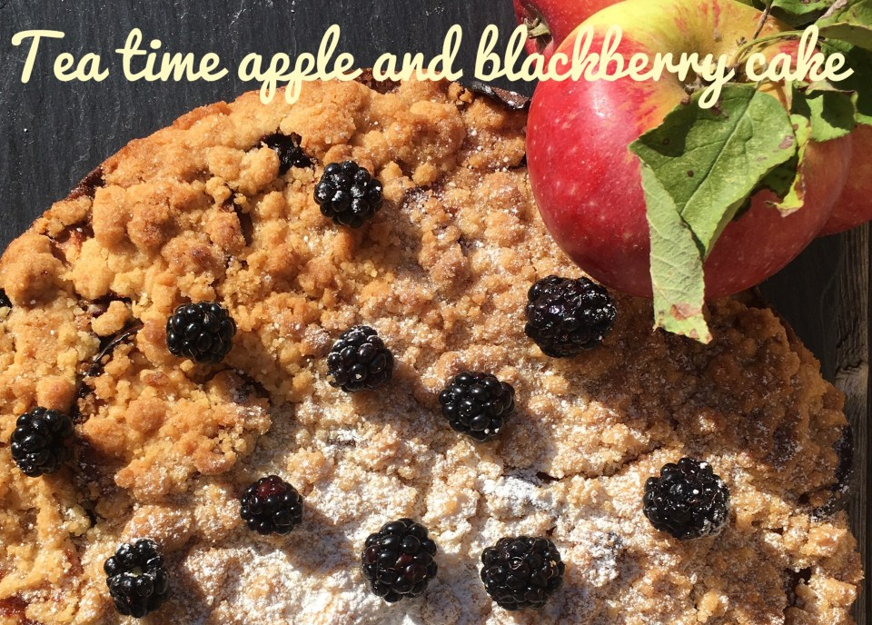 Tea time apple and blackberry cake