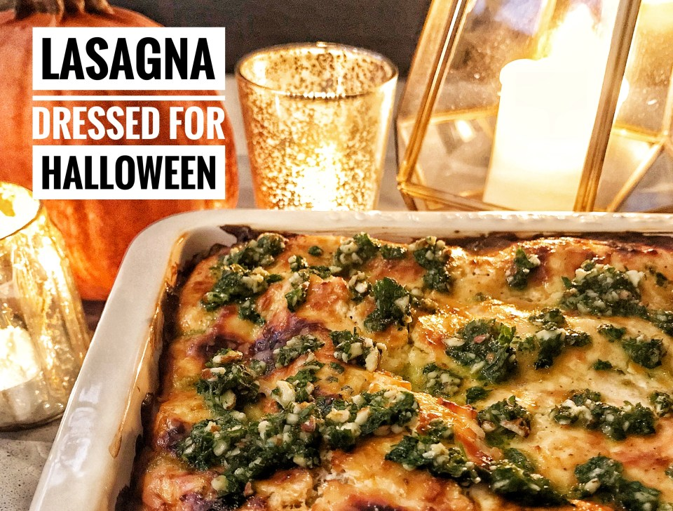 Halloween recipes - Lasagna dressed for Halloween with lamb, butternut squash, sage and parsley almond pesto