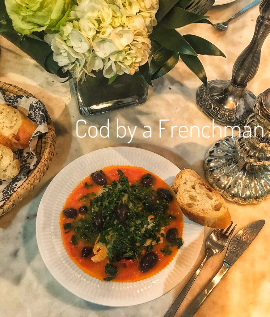 French inspired recipes - Cod with tomato, garlic stew and lots of parsley