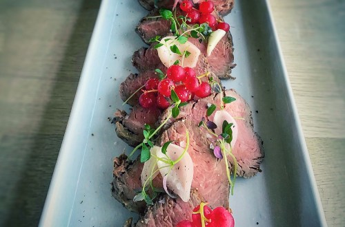 Extravagant veal tenderloin with trimming. Festive and beautiful dinner recipe perfect for New Year's