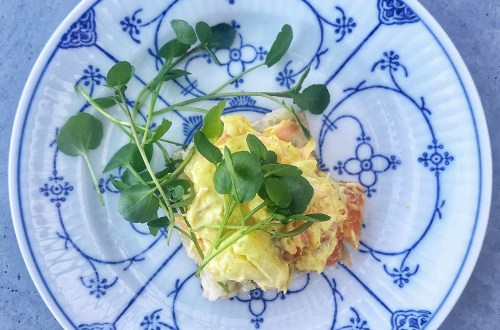Salmon salad with pineapple on open-faced sandwich