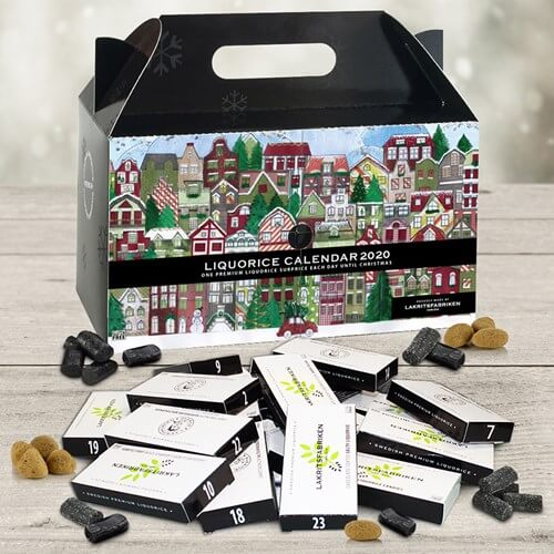 Populær gave å sende til jul: adventskalender (lakrisfabrikk