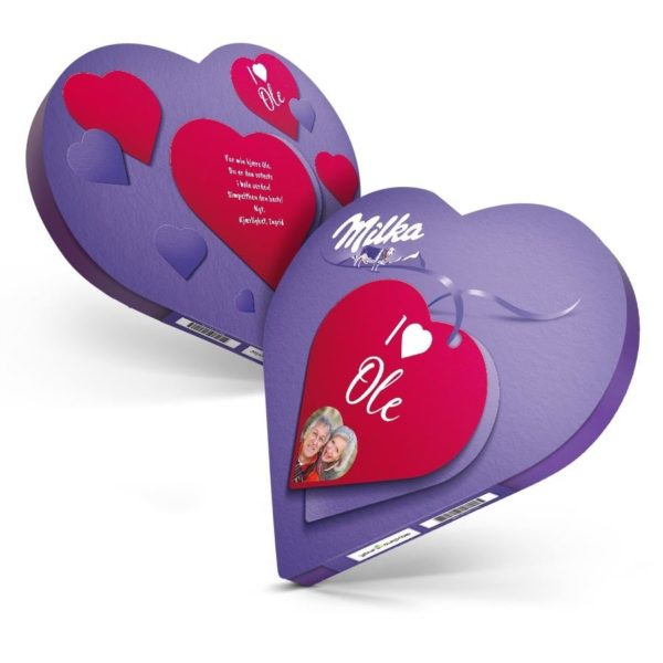 Gavepakken Milka-hjerter med navn og bilde