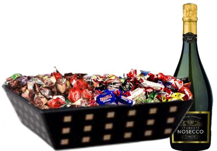 Send en sjokoladekurv med vin