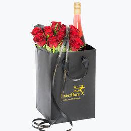 Send blomster på døra - 10 røde roser og cider i gavepose
