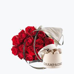 Send blomster på døra - 15 røde roser med Champagnetrøfler