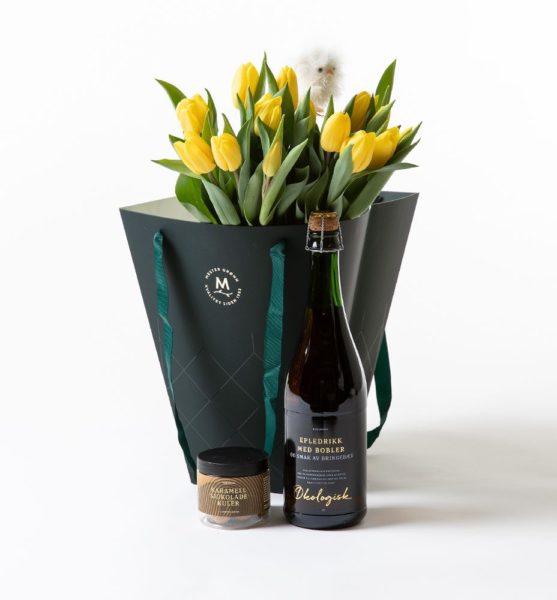 Send blomster på døra - Gule tulipaner i gavepose