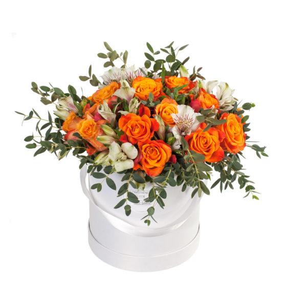 Send blomster på døra - Gyllen bukett i gaveeske