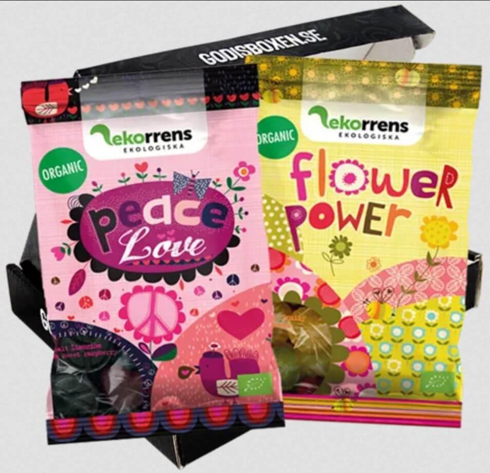 vegansk godisbox med flowerpower mfl