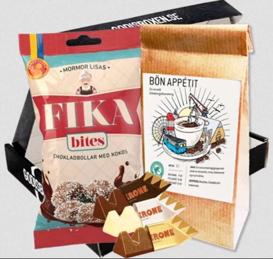 Box med delikatesser till kaffet