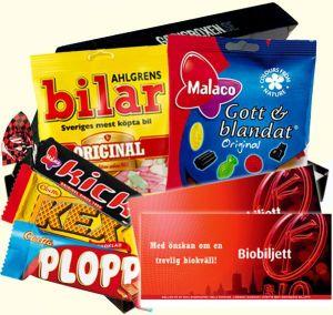 Skicka godisbox med gott och blandat samt biobiljetter