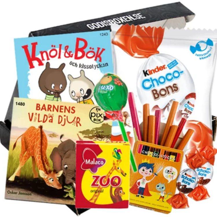 Presentbox till barn med massa gottis