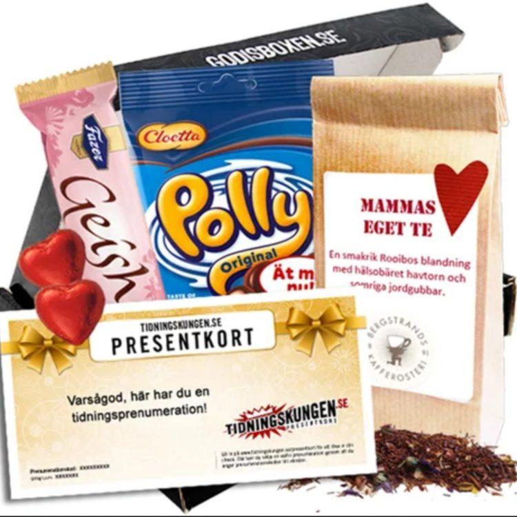 Presentbox med presentkort med polly, te mm