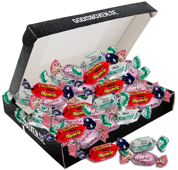 Skicka dumle, geisha & fazermint i en chokladbox