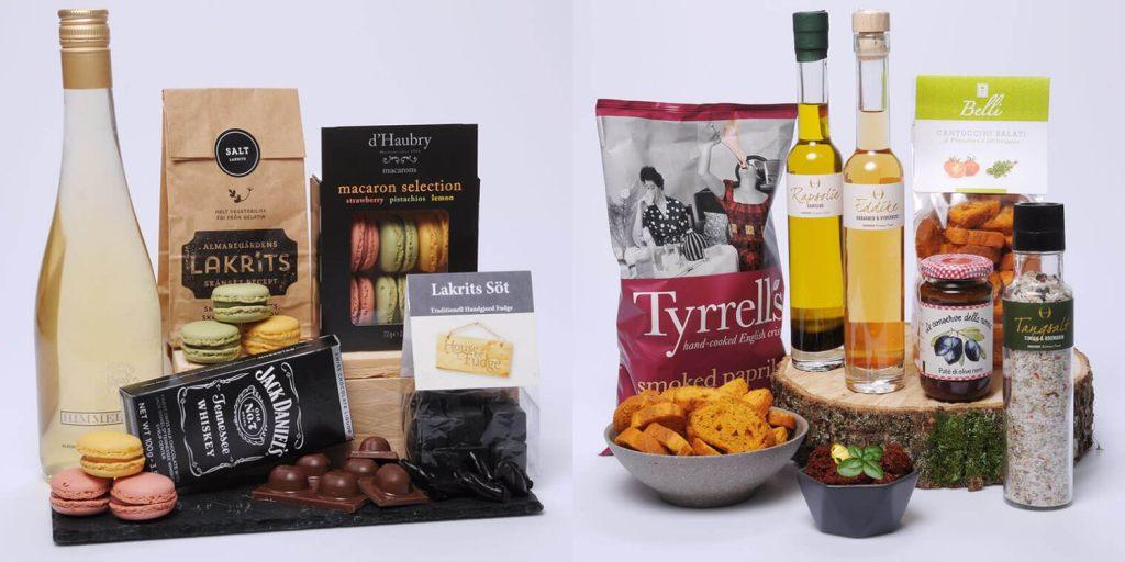 Två exempel av presentkorgar på gourmandise