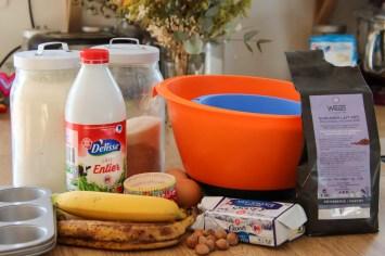 Ingrédients pour les muffins à la banane et au pépite de chocolat
