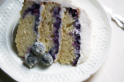 Slice of blueberry lemon cake