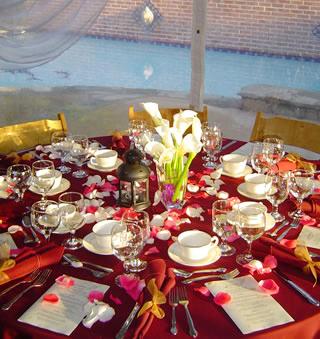 Burgundy Wedding Table Setting
