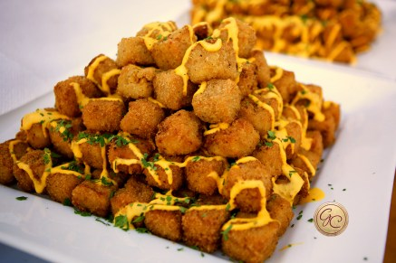 Fried Mac & Cheese Bites, ready for the short trip to the Theatre.