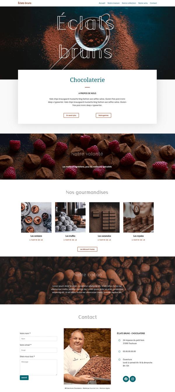Maquette de création de site internet pour une chocolaterie pour le package Pro