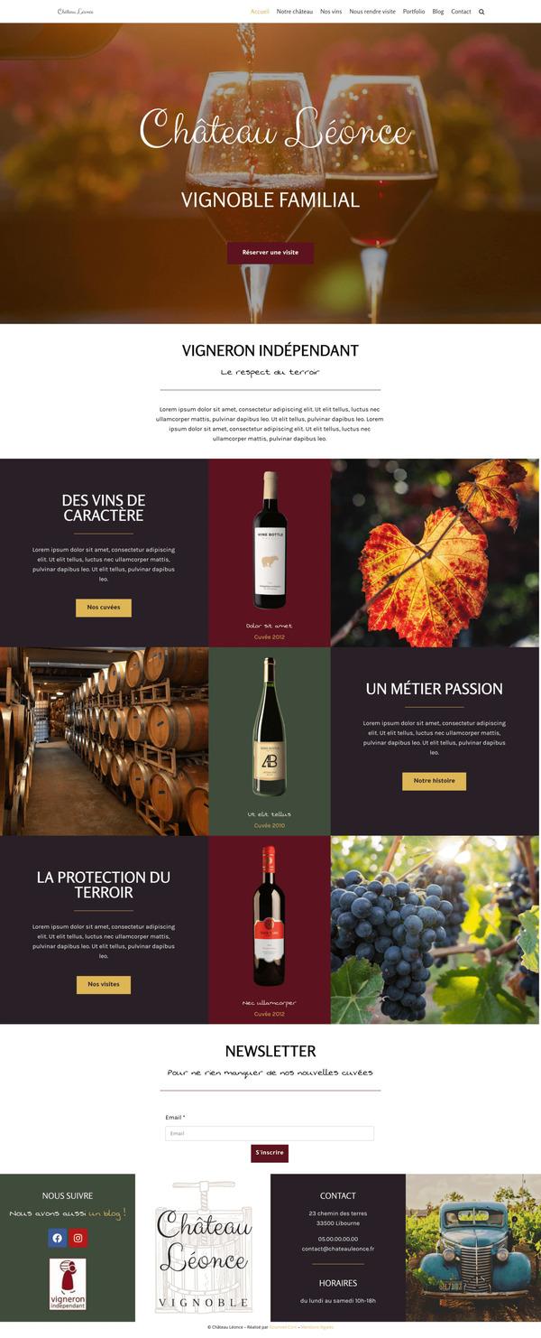 Maquette de création de site internet pour un vignoble avec le package Premium