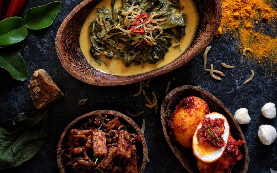 Egg Balado, Sambal Tempeh and Cassava Leaves Curry