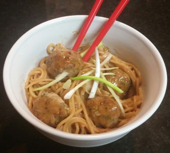 asian pork noodles with saucy mama noodles