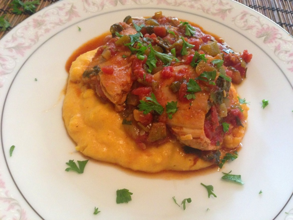 Valentine's Day Dinner: Peppered Chicken with Saffron Polenta