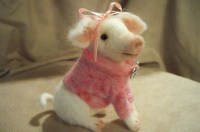WINNER OF NEEDLE FELTED CONTEST~PRETTY IN PINK ~MOLLY