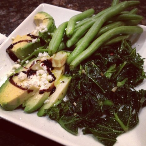 Kale, avocado, green beans