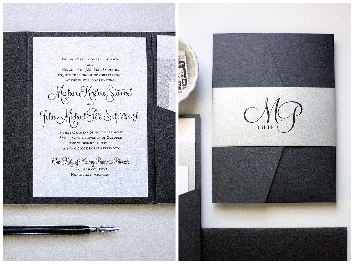 Black and Silver Wedding Invitations  Gourmet Invitations
