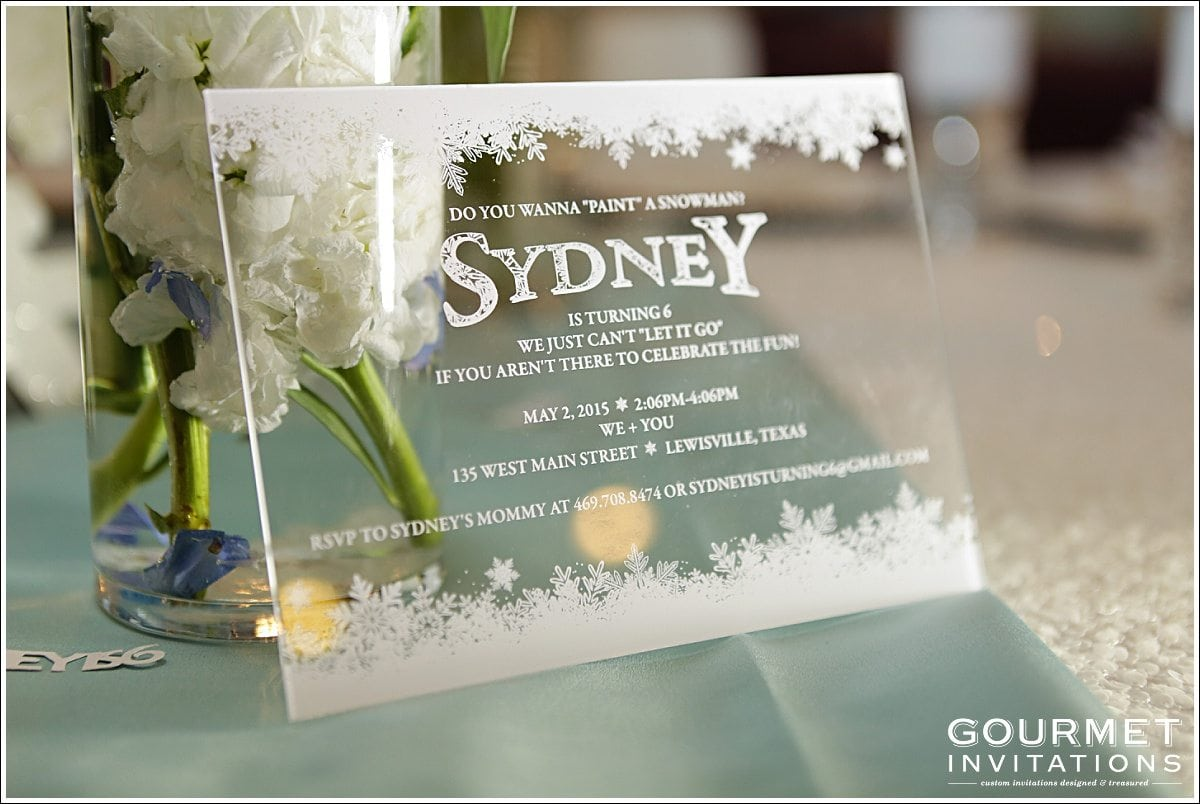 Acrylic Birthday Invitations Gourmet Invitations