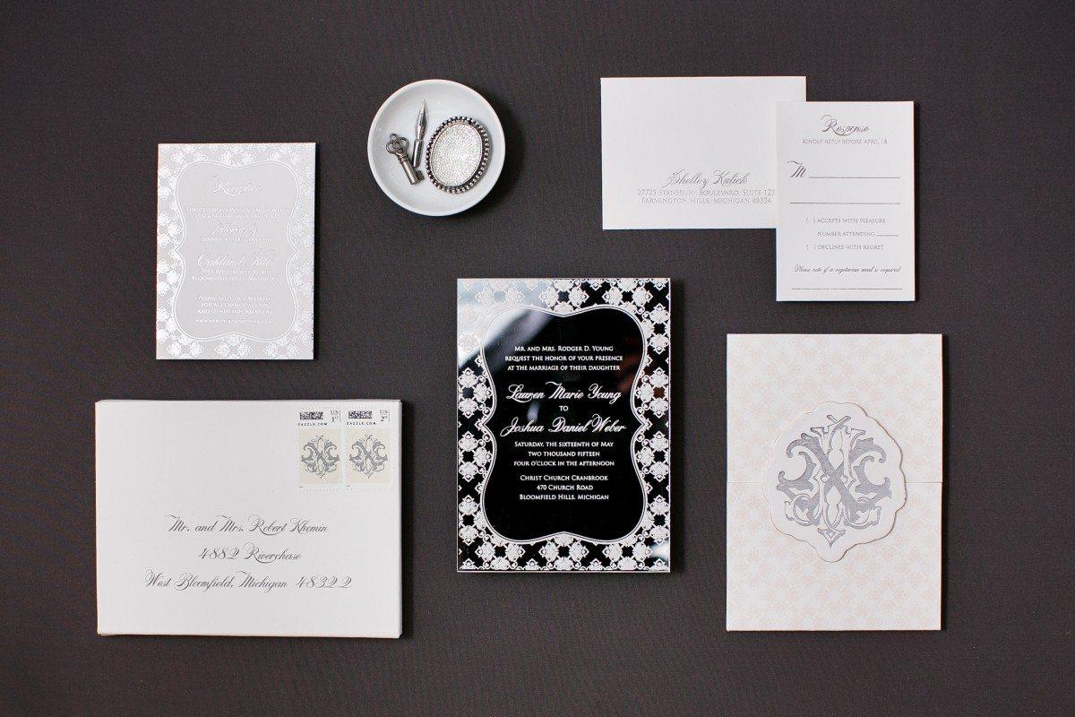 mirror wedding invitations, mirror invitations ideas