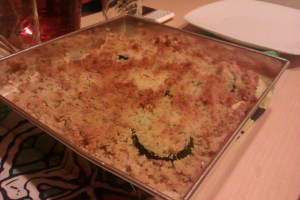 Crumble de patatas y calabacín