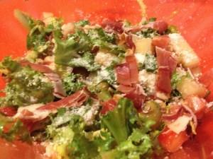 Ingredientes para ensalada de melón y jamón