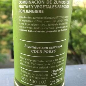 Foto de la etiqueda del zumo detox Hacendado de Mercadona