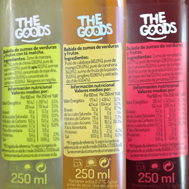 Etiqueta de los smoothies vegetales The Goods