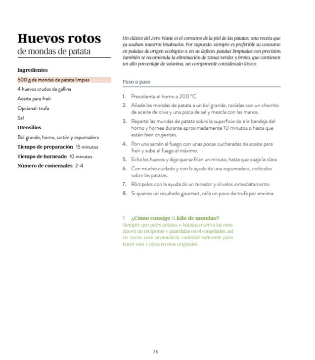 receta huevos rotos mondas patata zero waste