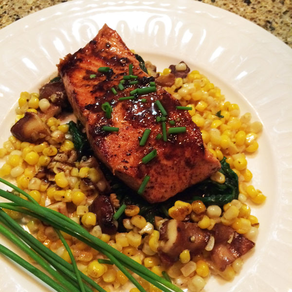 Salmon with Balsamic and Summer Vegetables